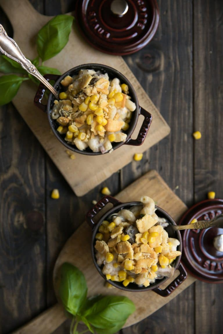 small cocete filled with Creamy Cowboy Stovetop Macaroni and Cheese sprinkled with croutons