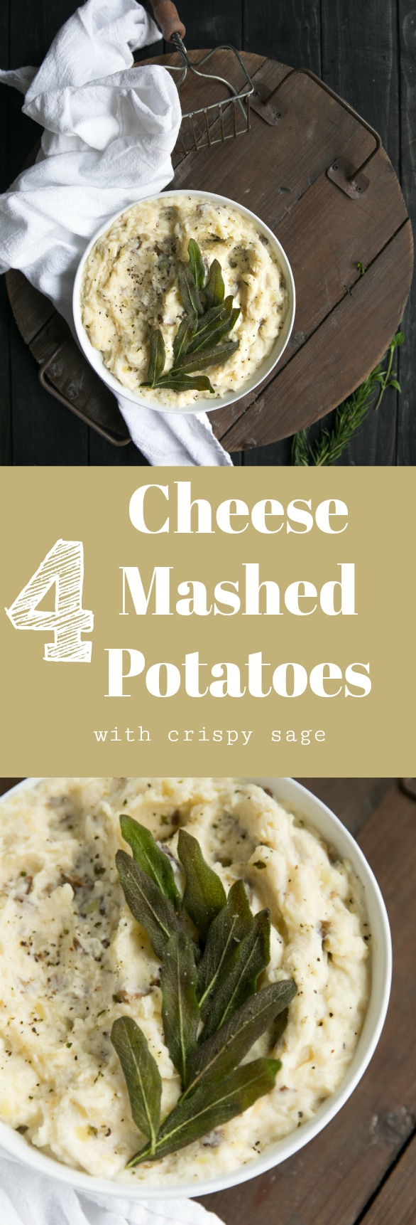 Creamy, cheesy and packed full of extra protein, these amazing Four Cheese Mashed Potatoes with Crispy Sage knock plain old regular potatoes out of the park and make the perfect side to any meal.  Via @theforkedspoon #sides #holiday #thanksgiving #entertaining #potatoes #cheese #easyrecipes