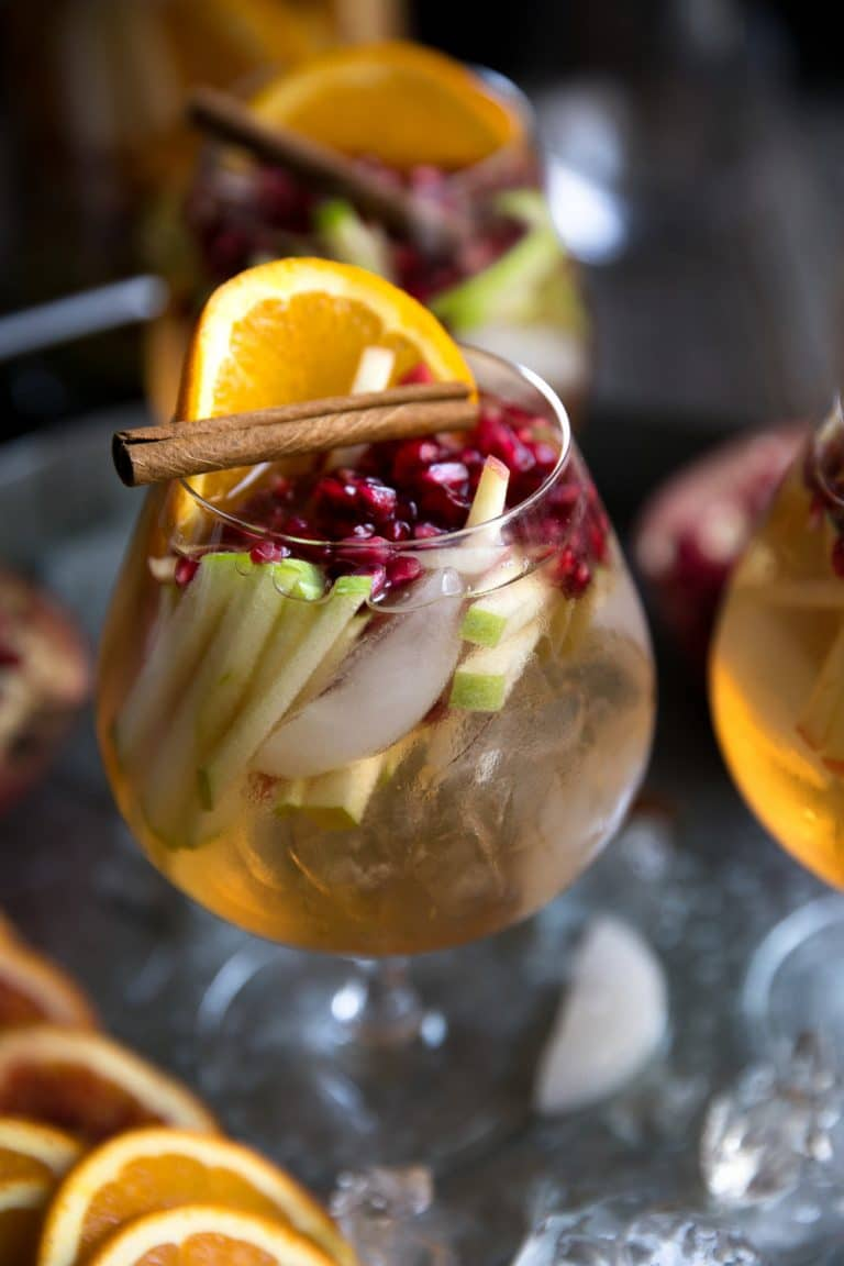 Autumn Rosé Sangria with Apples and Pomegranates