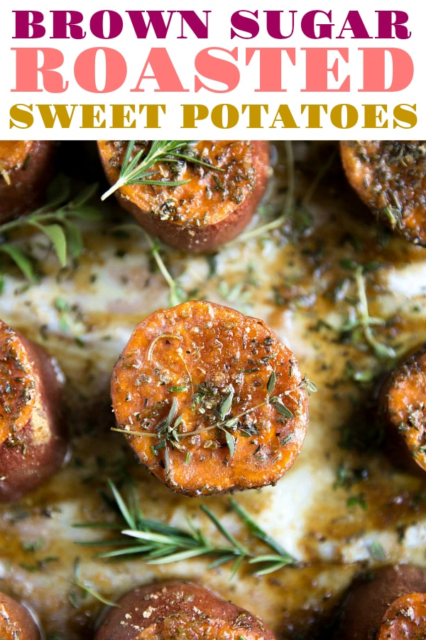 Easy Herb and Brown Sugar Roasted Sweet Potatoes #sweetpotatoes #brownsugarsweetpotatoes #sides #thanksgivingsides #potato #sweetpotatorecipe #vegetarian #easyrecipe | For this recipe and more visit, https://theforkedspoon.com