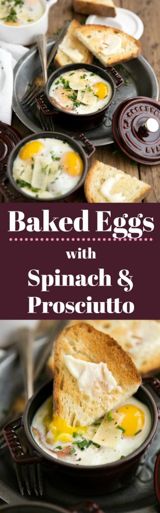 Baked Eggs in Mini Cocottes with Spinach and Prosciutto