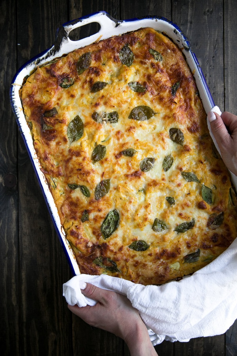 Fresh out of the oven Butternut Squash zucchini spinach lasagna