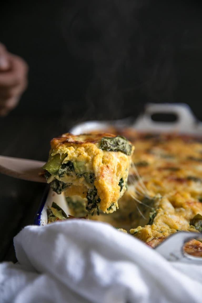 Close-up image of steamy butternut squash lasagna