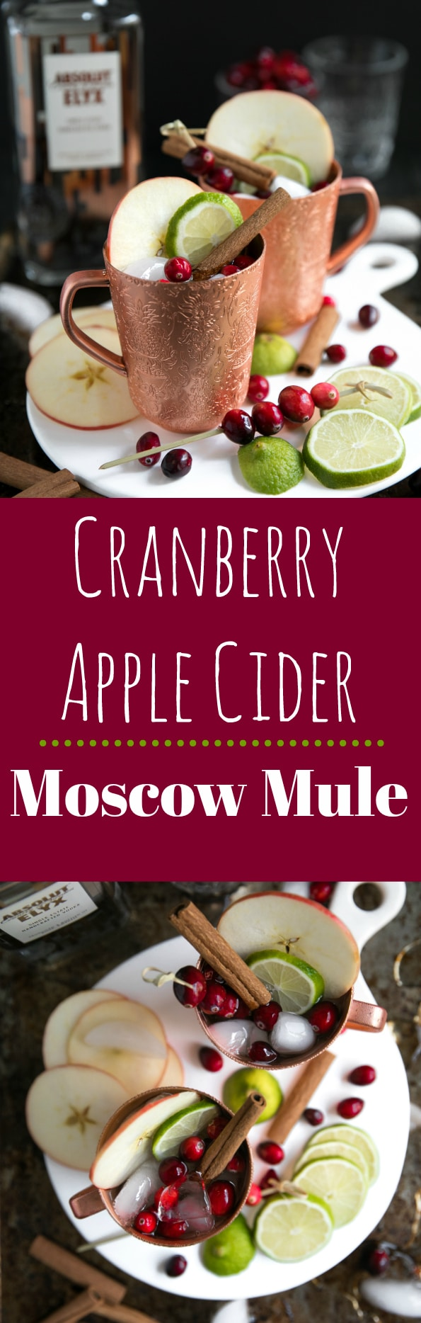 Cranberry Apple Cider Moscow Mule.  Delicious any time of year, this Cranberry Apple Cider Moscow Mule is light, crisp and refreshing; perfect for a night in with friends or a large family gathering.  #vodka #cranberries #cinnamon