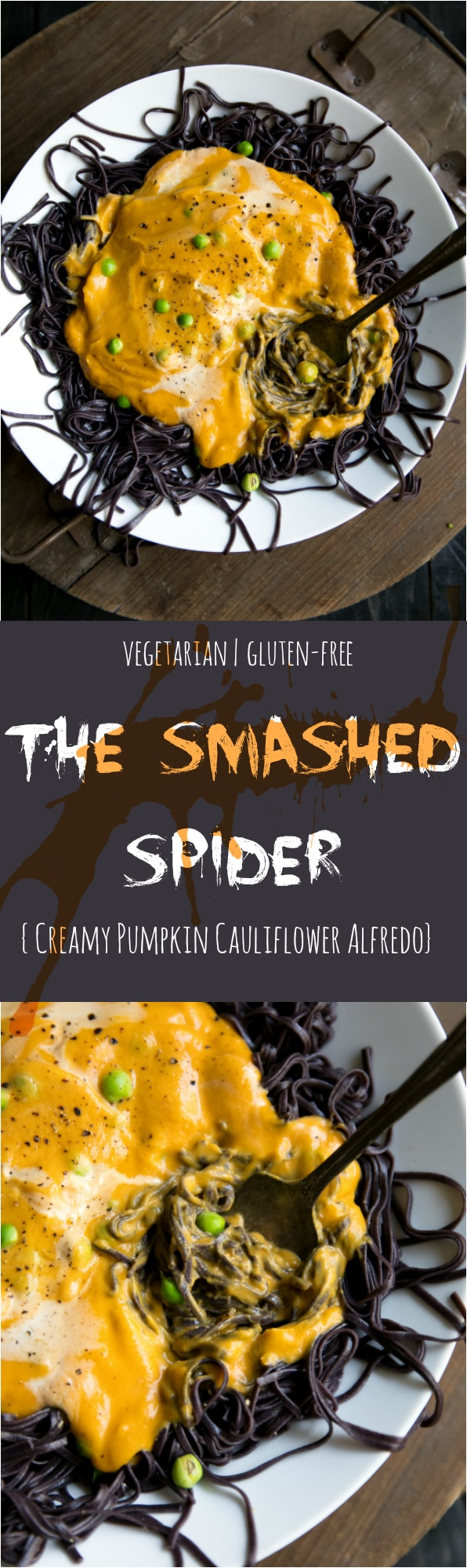Both kids and grown ups will go bonkers for this FUN (and sneakily healthy) version of Pumpkin Cauliflower Alfredo. Appropriately named The Smashed Spider, this pasta is all about healthy veggies and power packed super foods. #halloween #healthy #familyrecipies #kidfood #kidapproved