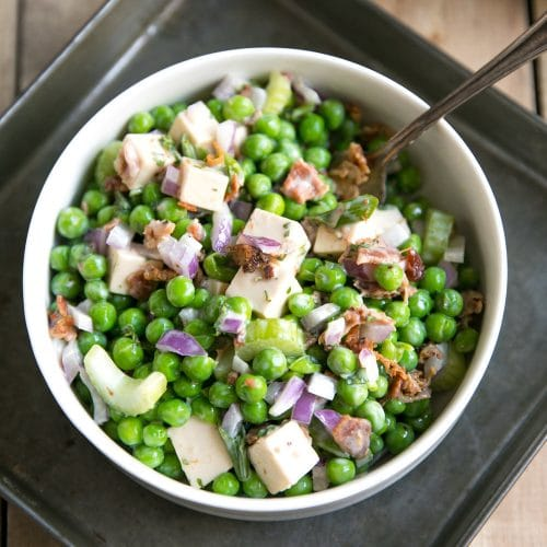 A bowl of pea salad