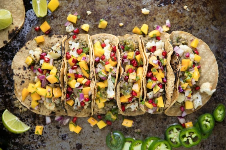 Salsa Verde Cauliflower and Lentil Tacos with Mango Pomegranate Salsa