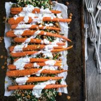 Oven Roasted Carrots + Chickpeas with Farro and Lemon Yogurt Sauce