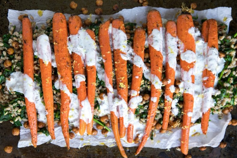 Oven Roasted Carrots with Lemon Tahini Sauce