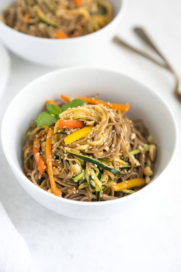 Spicy Peanut Soba and Zucchini Noodles