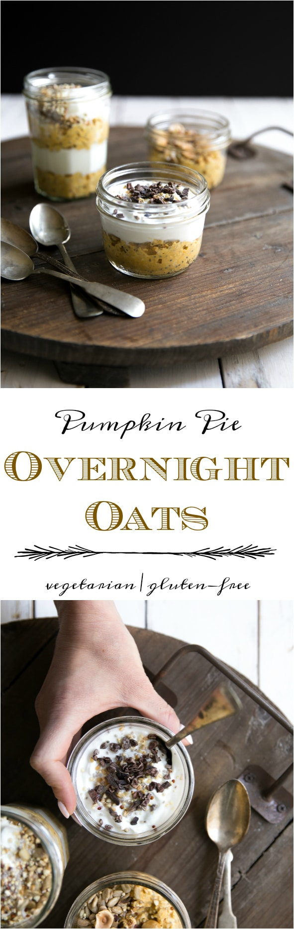 Just as delicious and WAY better for you, these Pumpkin Pie Overnight Oats are loaded with protein and taste just like the real deal. #pumpkin #pumpkinpie #thanksgiving #healthy #dessert #breakfast @theforkedspoon