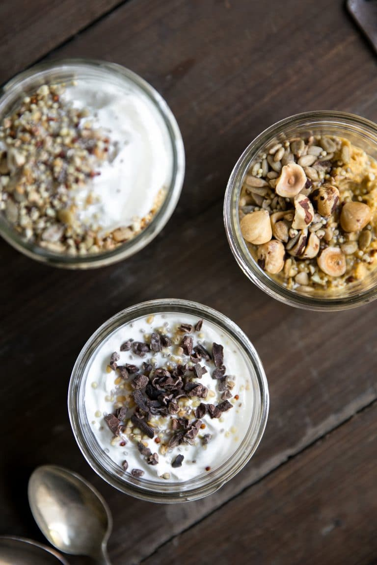 overhead image of Pumpkin Pie Yogurt Overnight Oats