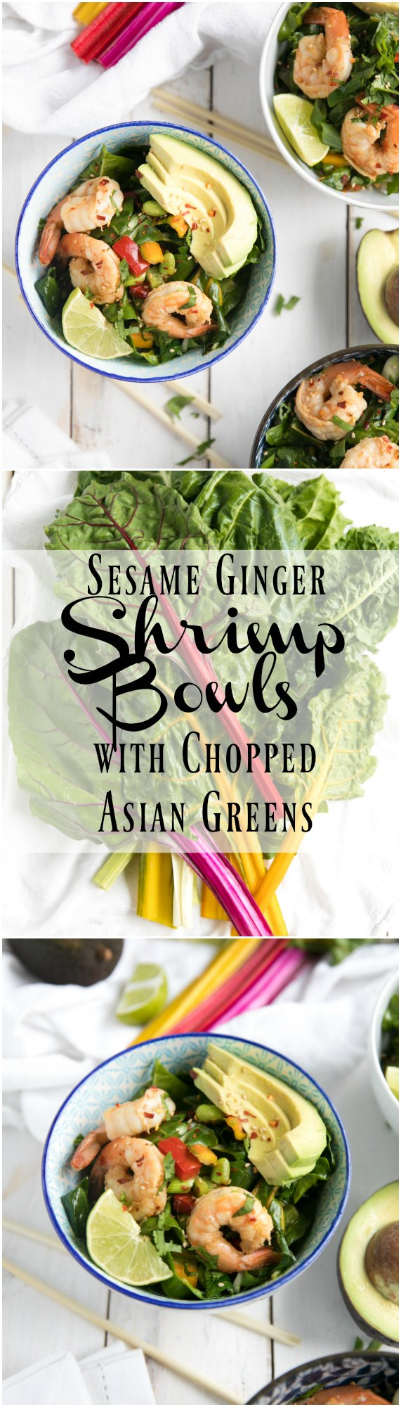 Sesame Ginger Shrimp Bowls with Asian Chopped Greens - via @theforkedspoon