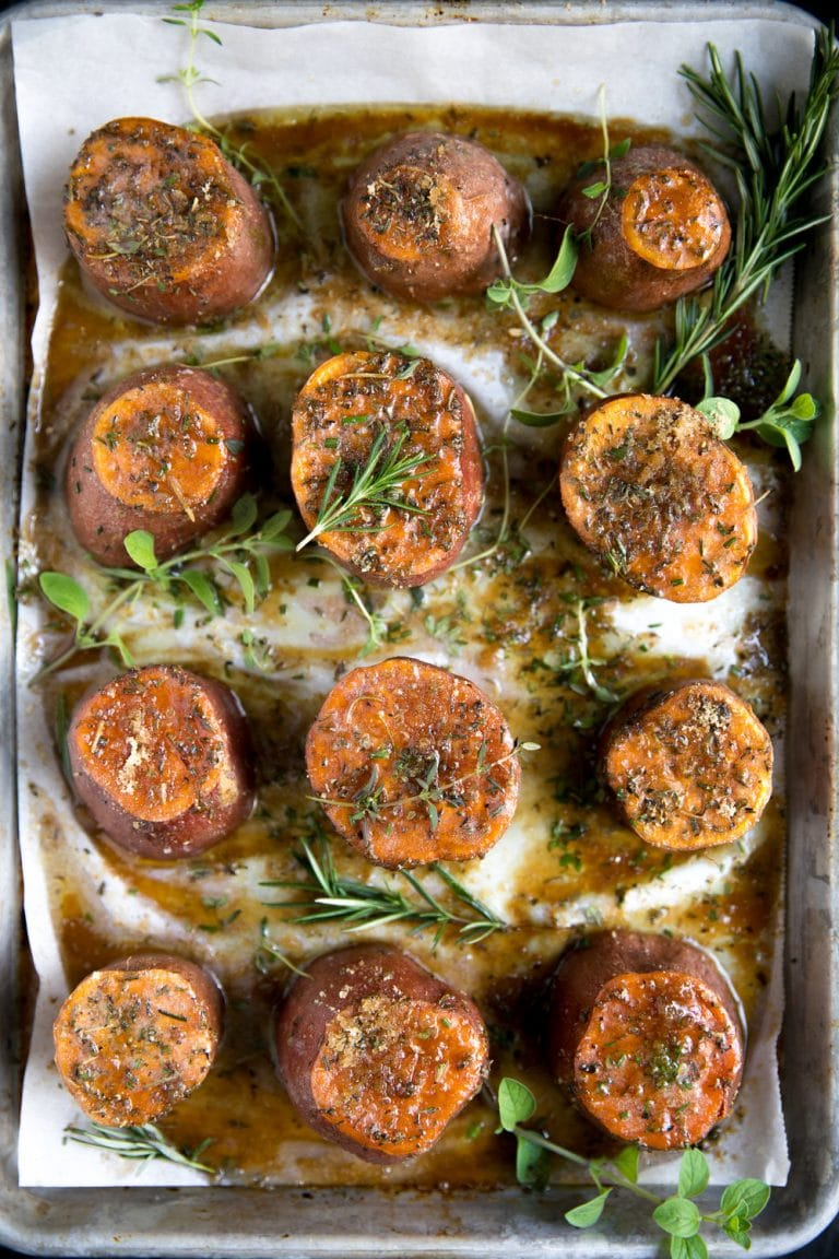Easy Herb and Brown Sugar Roasted Sweet Potatoes