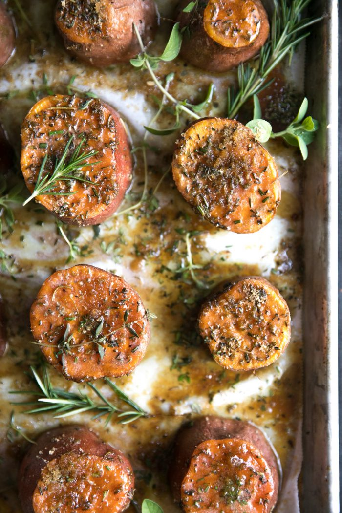 A close up of Sweet potato side with herbs