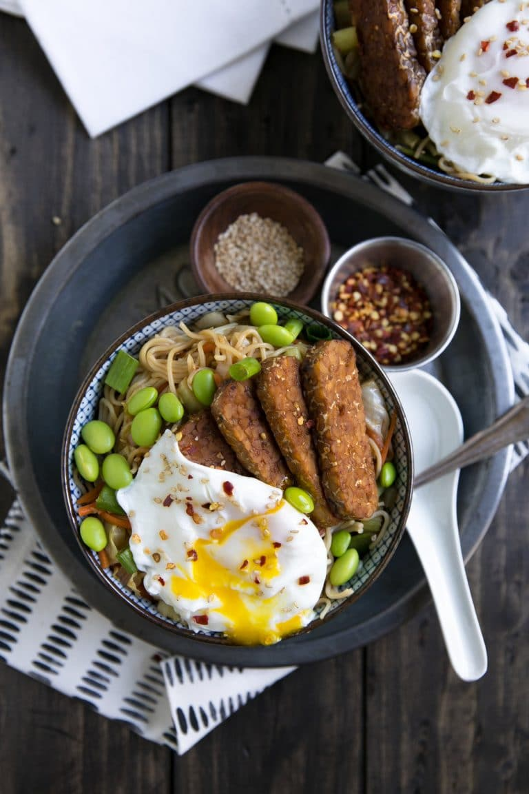 Veggie Ramen Noodle Stir Fry with Tempeh and Poached Egg