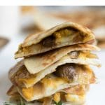 Cheesy Pumpkin Quesadilla with Sausage and Maple Pumpkin Yogurt Sauce