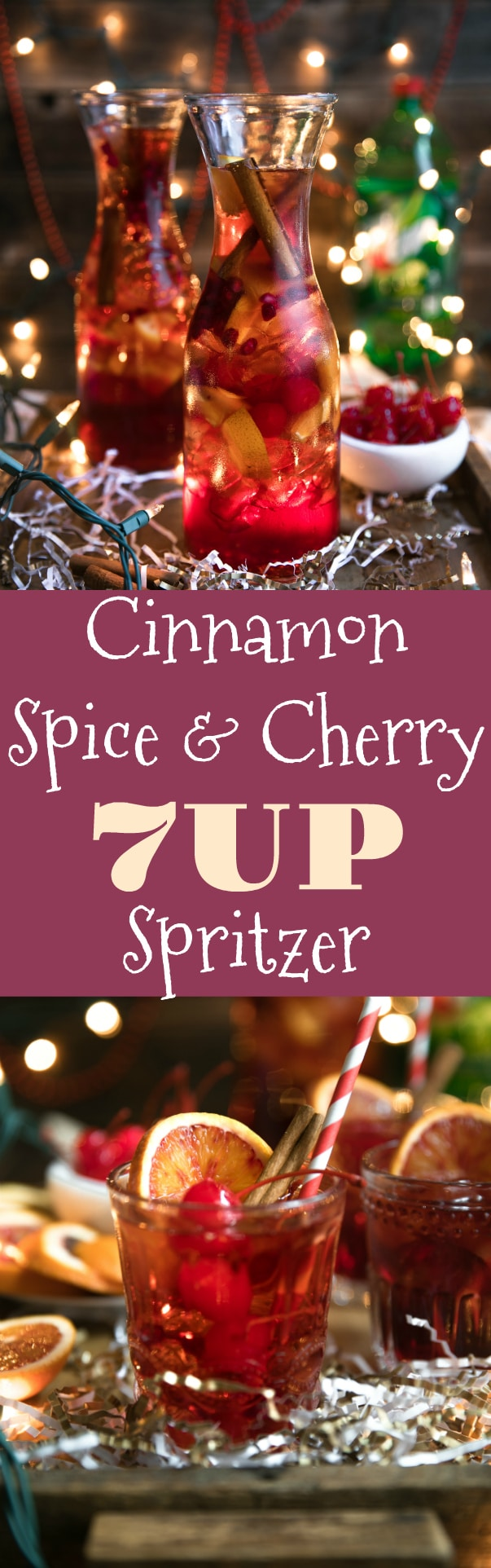 Cinnamon Spice Cherry 7UP Spritzer via @theforkedspoon #ad #cherryspritzer #bourbon #cocktail #holiday #cocktailrecipe #7up #drinks #easyrecipe