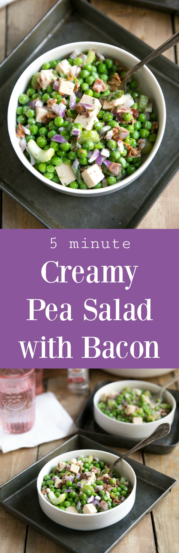 Easy Pea Salad with Bacon (+VIDEO). The perfect no-bake, fast, easy, and delicious side dish for any holiday party or summer BBQ, this Easy and Creamy Pea Salad is filled with cubes of smoked gouda, crunchy celery and plenty of bacon! via @theforkedspoon #ad #peasalad #easyrecipe #fastrecipe #picnicrecipe #goudacheese #bacon