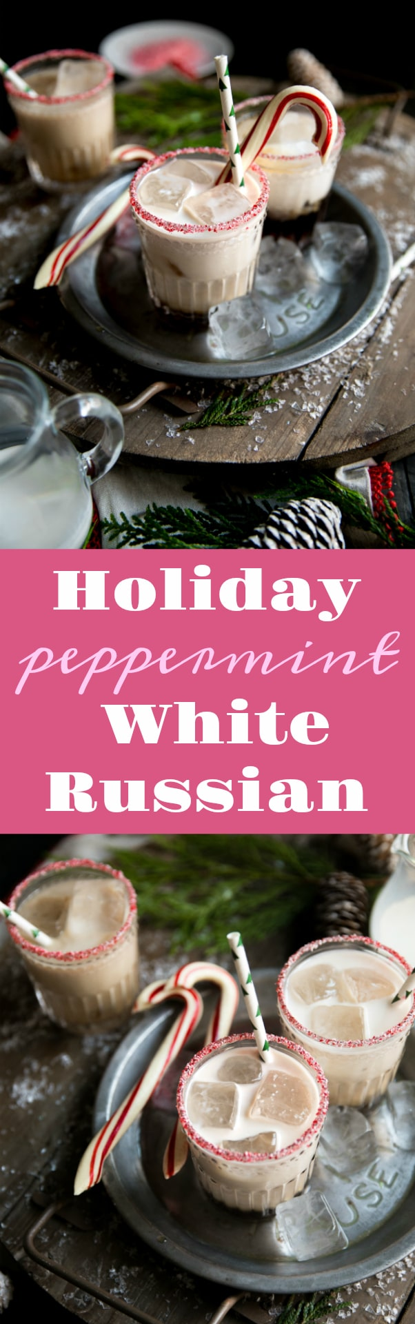 Holiday Peppermint White Russian. Made with Kahlúa, Peppermint Schnapps, and Vodka, this delicious cocktail is perfect for the cold holiday season via @theforkedspoon #whiterussian #cocktail #holidaydrinks #christmas #vodka #kahlue #coffee