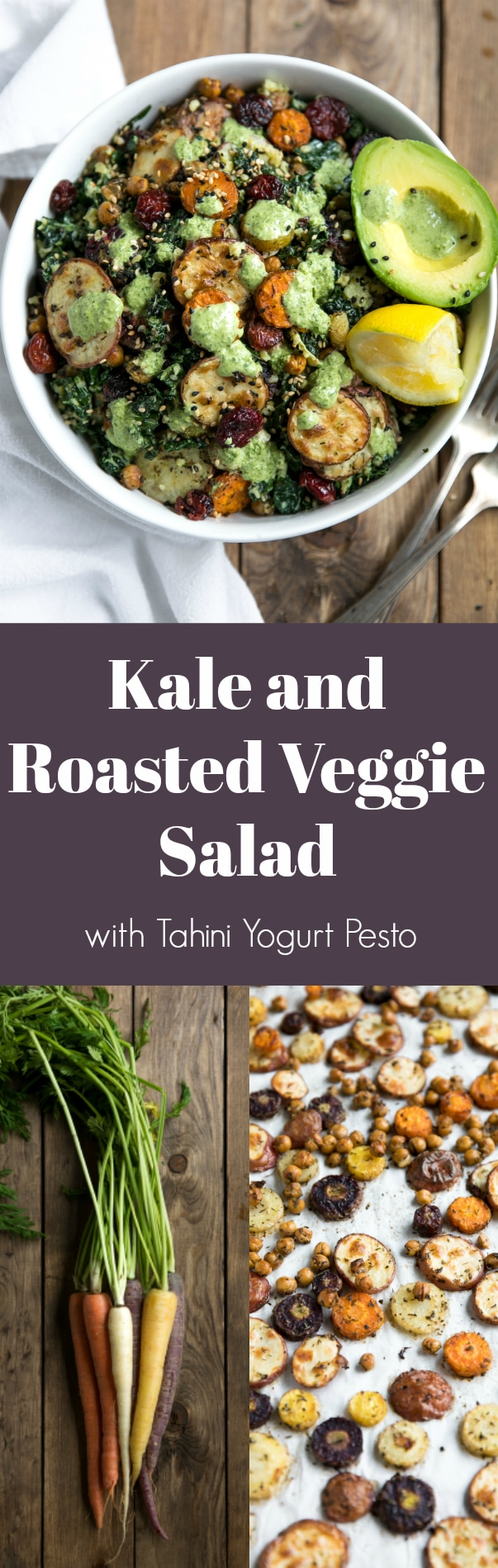 Kale and Roasted Veggie Salad with Tahini Yogurt Pesto combines healthy, energy-packed power foods like kale, chickpeas, and carrots into one delicious bowl via @theforkedspoon #salad #vegetarian #healthyrecipe #glutenfree #chickpeas #potatoes #pesto #basil #driedcranberries