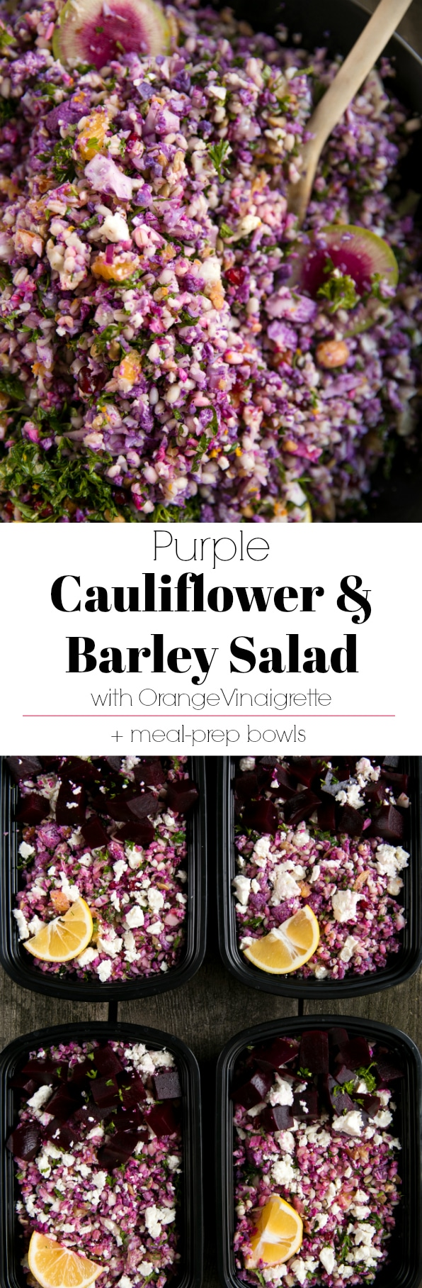 Purple Cauliflower and Barley Salad with Orange Vinaigrette - via @theforkedspoon
