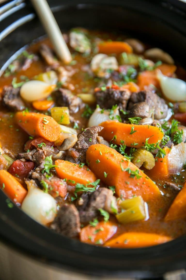Stewed Beef Bourguignon (beef stew) in the slow cooker