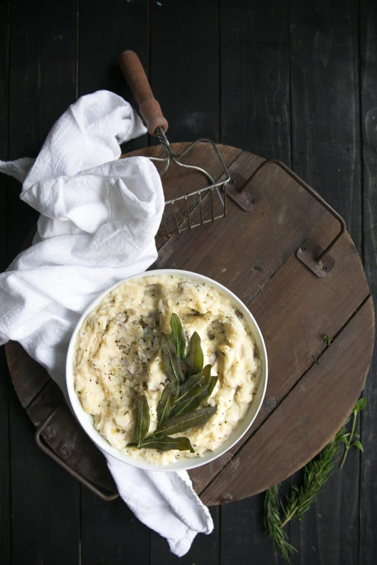 Four Cheese Mashed Potatoes with Crispy Sage