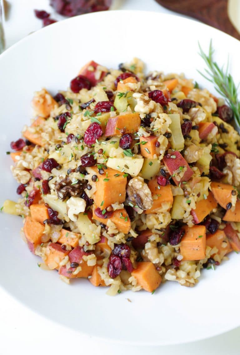 Cranberry Apple Pecan Pilaf with Sweet Potatoes