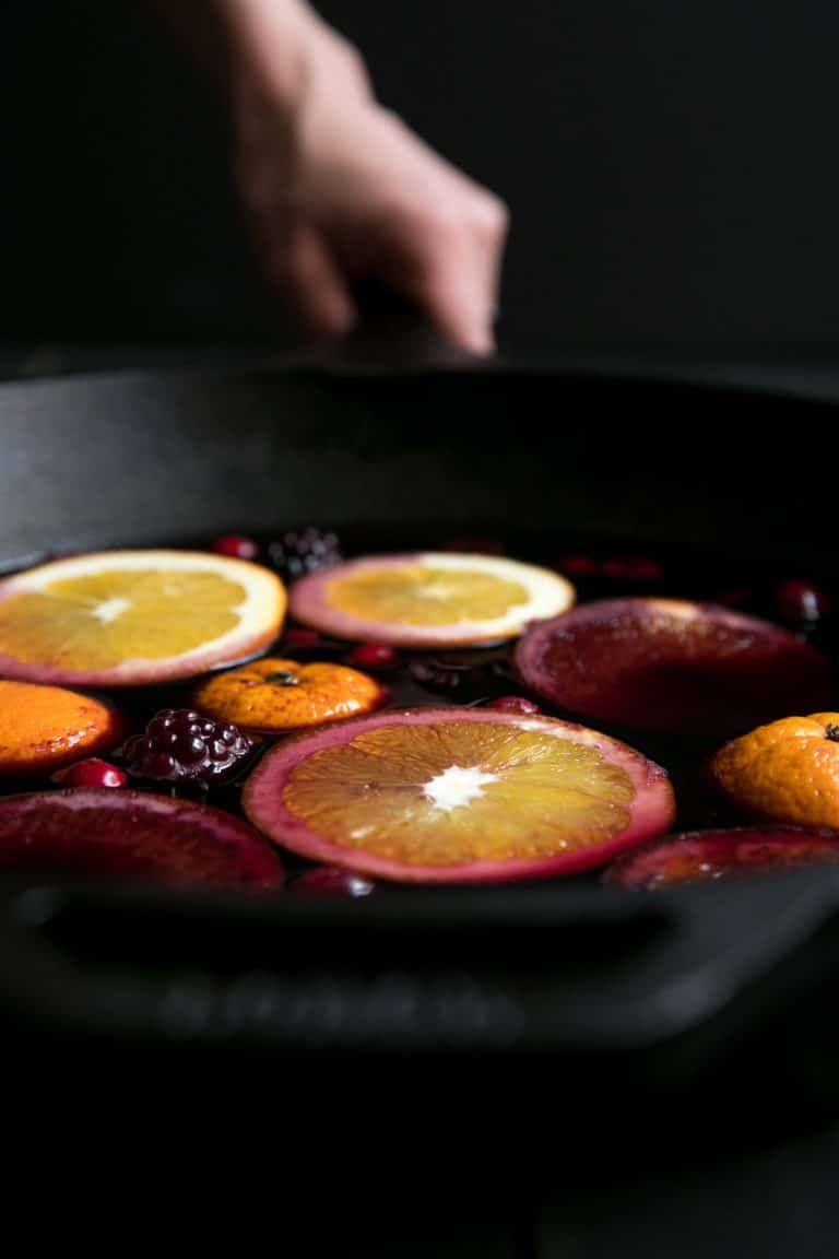Spiced mulled wine with blackberries the forked spoon for Spiced cranberry sauce with orange and star anise