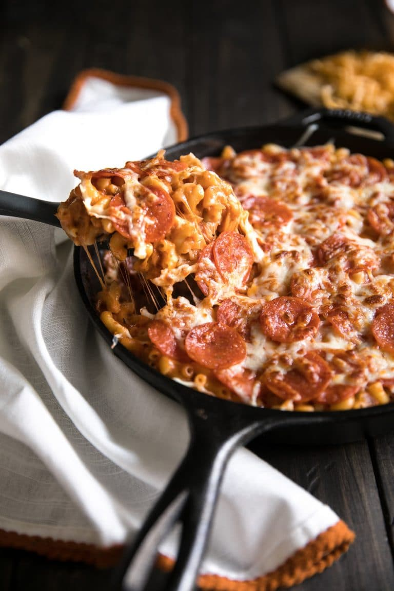 Pepperoni Pizza Mac n Cheese Skillet. Addicting creamy, cheesy noodles baked in a skillet covered with pepperonis.