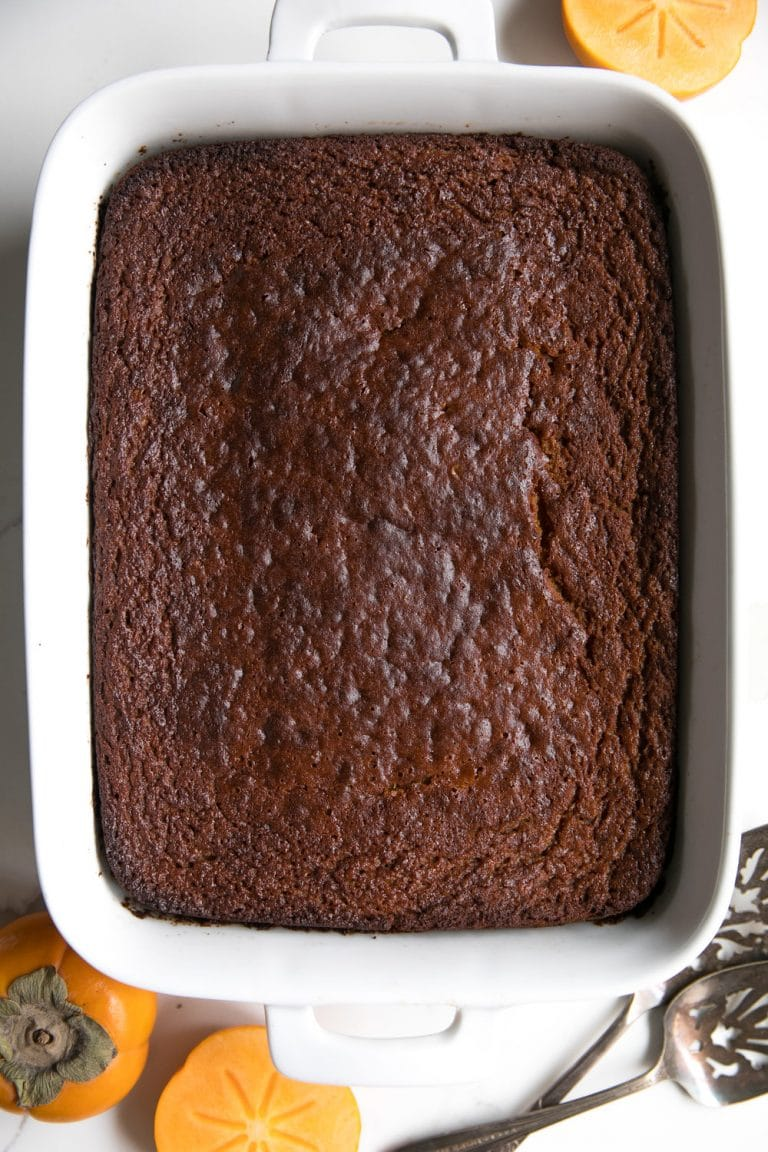 Fast and EASY Persimmon Pumpkin Pudding Cake. Basic and humble from the outside, but full of flavor, spice, pumpkin and persimmons on the inside..