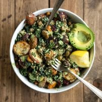 Kale and Roasted Veggie Salad with Tahini Yogurt Pesto