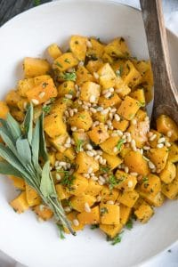 Easy 5 Ingredient Herb Roasted Butternut Squash with Pine Nuts