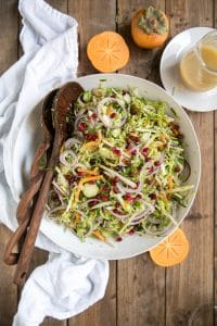Shredded Brussels Sprout and Persimmon Salad