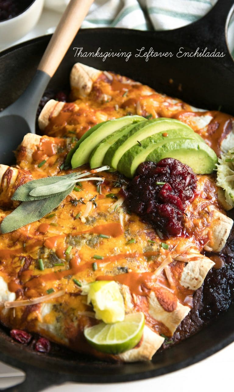 Thanksgiving Leftover Enchiladas via @theforkedspoon #leftovers #enchiladas #turkey #holidayleftovers #easyrecipe #cheese