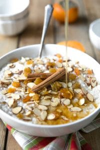 Almond Rice Pudding with Golden Raisins