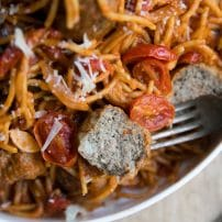 15 Minute One Pot Spaghetti & Meatballs