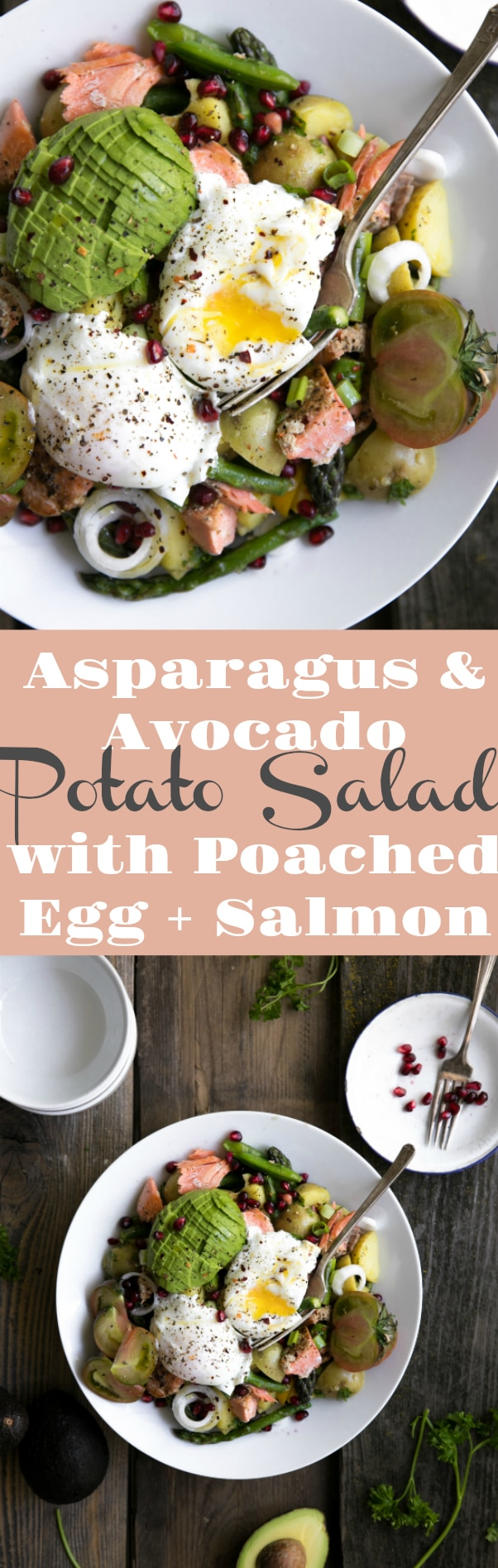 Asparagus and Avocado Potato Salad with Poached Egg and Salmon via @theforkedspoon #salmon #potatosalad #saladrecipe #salmonrecipe #eggs #poachedeggs #asparagus