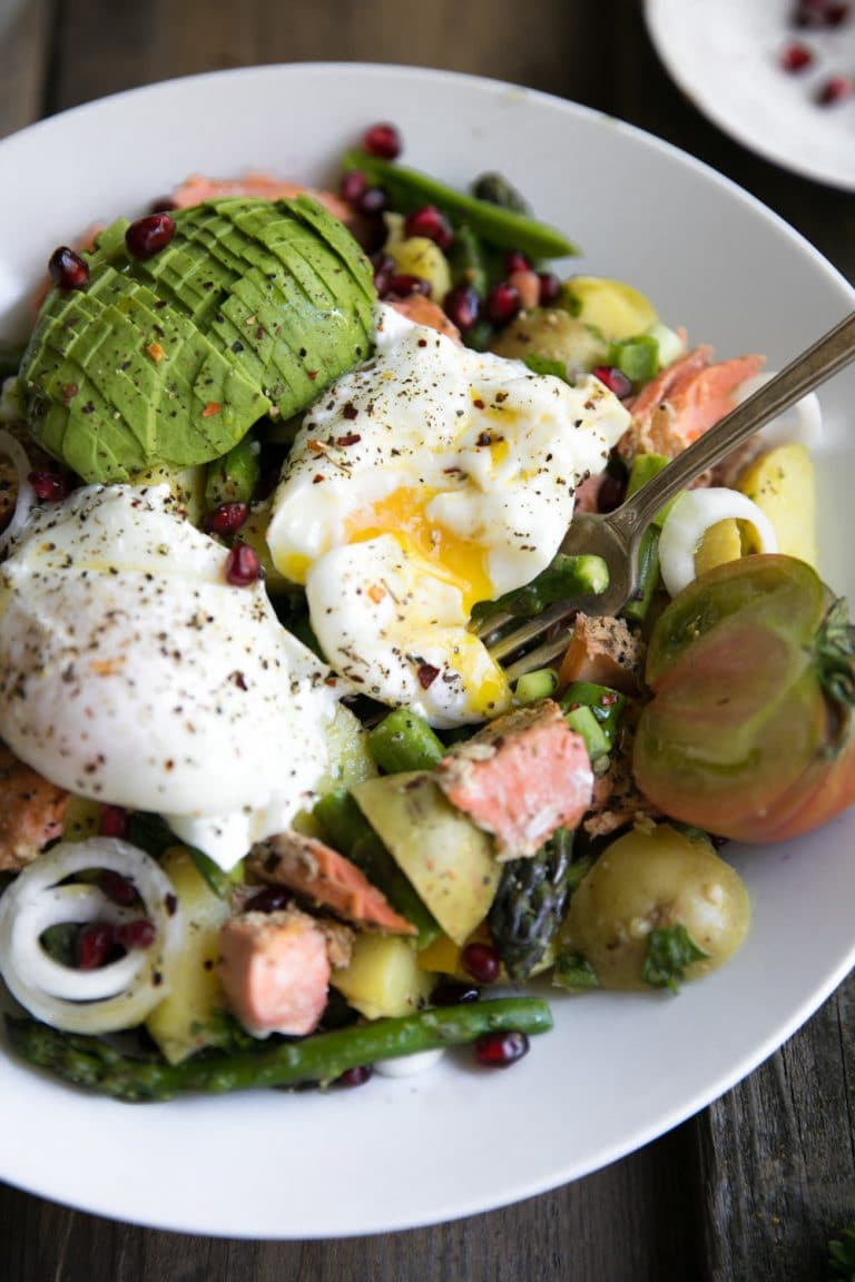 Asparagus and Avocado Potato Salad with Poached Egg and ...