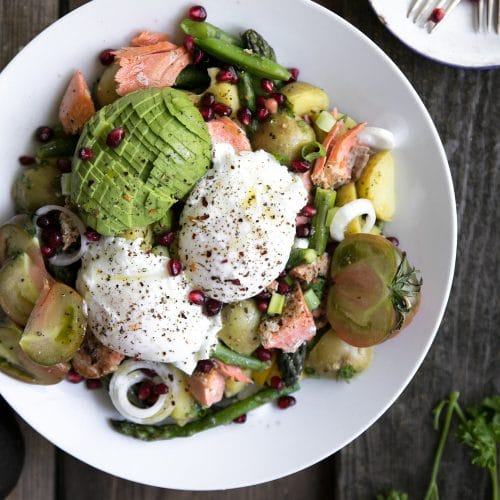 Asparagus and Avocado Potato Salad with Poached Egg and Salmon