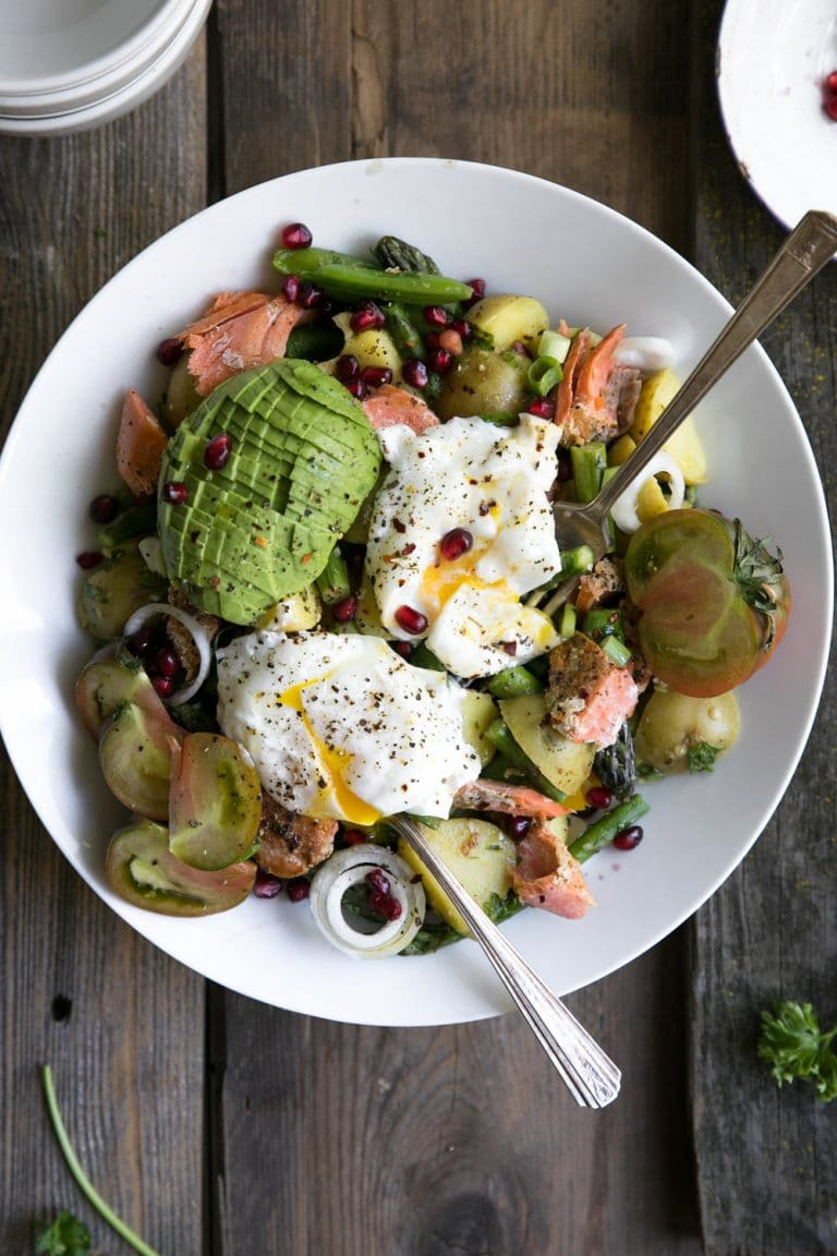 Asparagus and Avocado Potato Salad with Poached Egg and Salmon