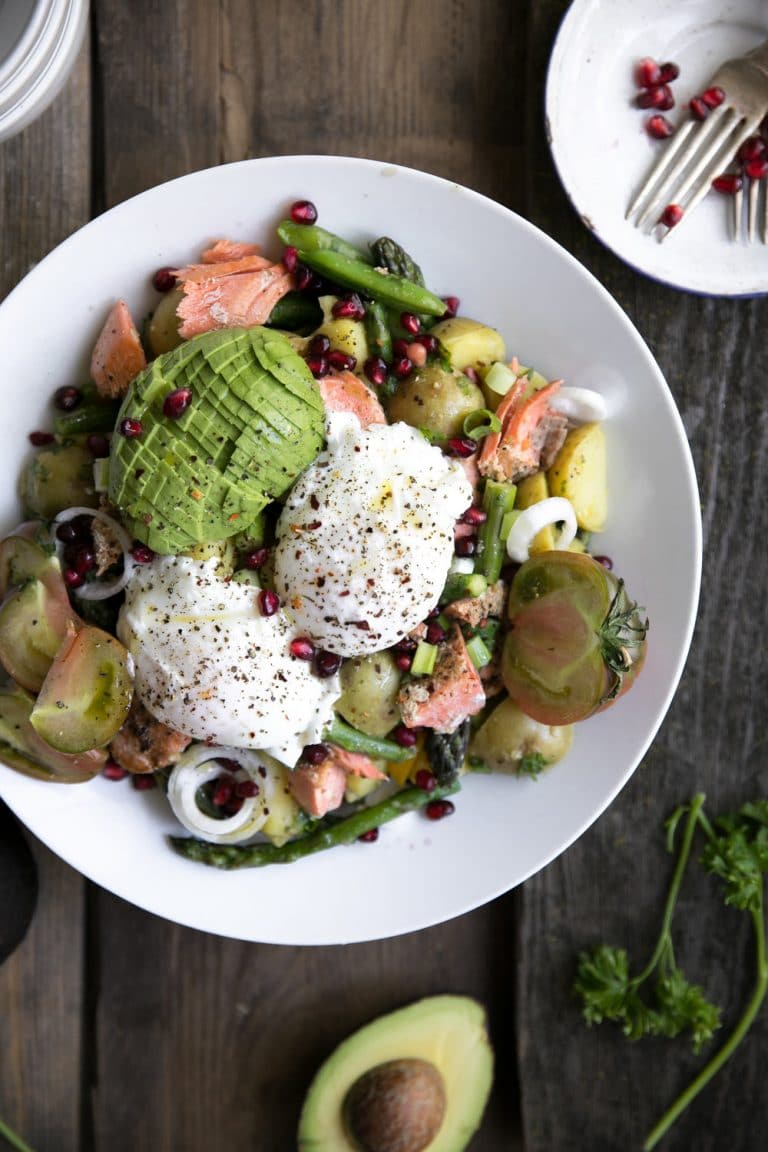 Easy Asparagus and Avocado Potato Salad with Poached Egg and Salmon