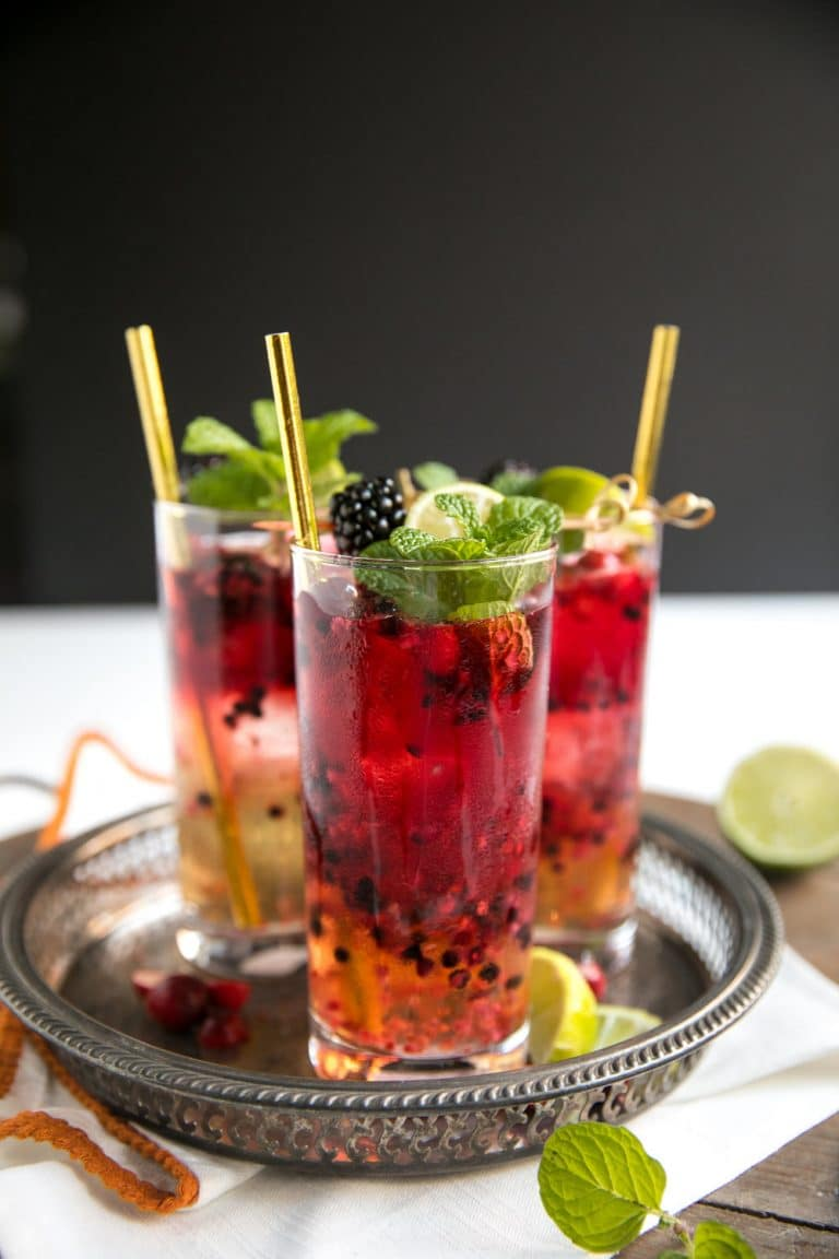 Easy Blackberry Cranberry Moscow Mule Cocktail