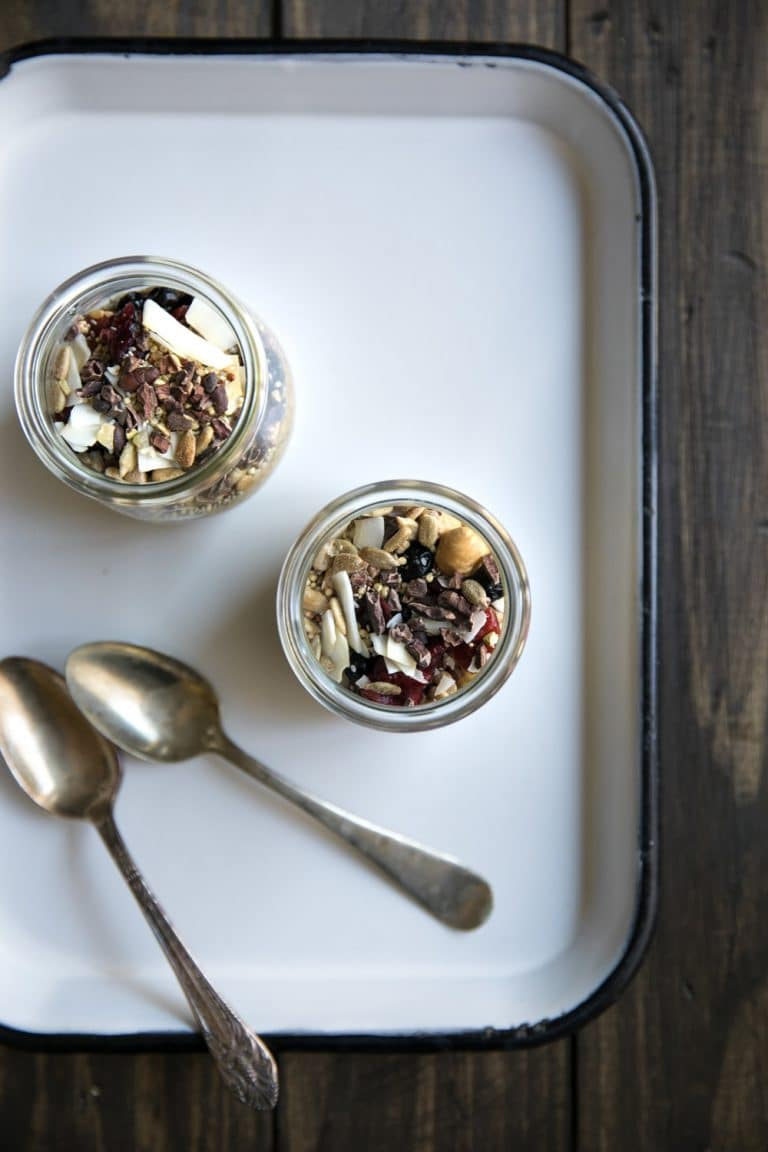 overhead image of Butternut Squash Chia Pudding in two glass jars