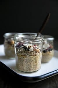 A cup on a table, with Butternut Squash Chia Pudding