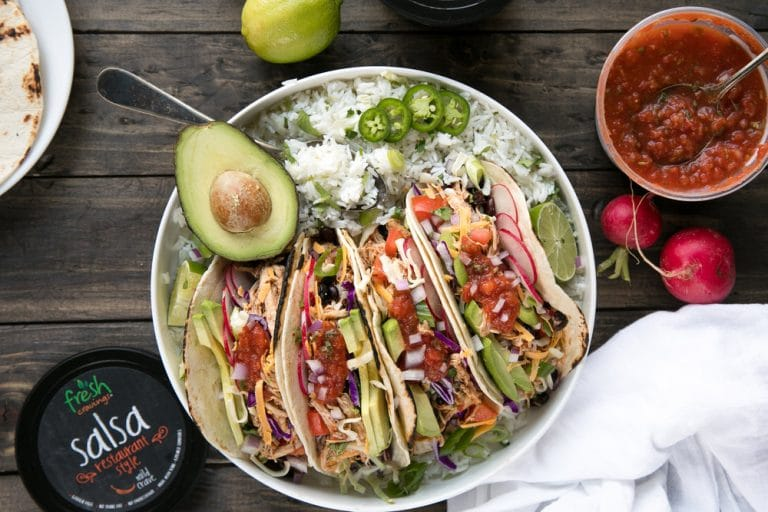 30 Minute Instant Pot Shredded Salsa Chicken Tacos with Cilantro Lime Rice, Shredded Cheese, and Black Beans (+ Video)