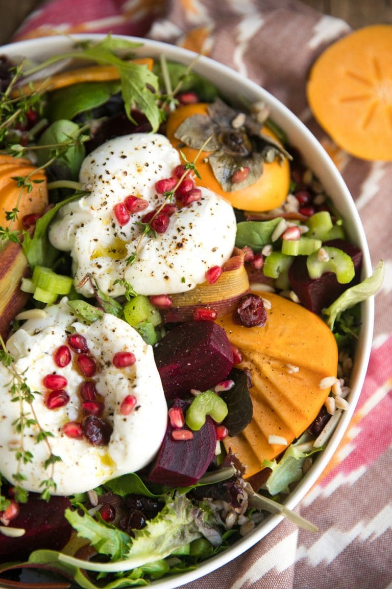 Persimmon, Farro, and Burrata Salad with Easy Balsamic Vinaigrette