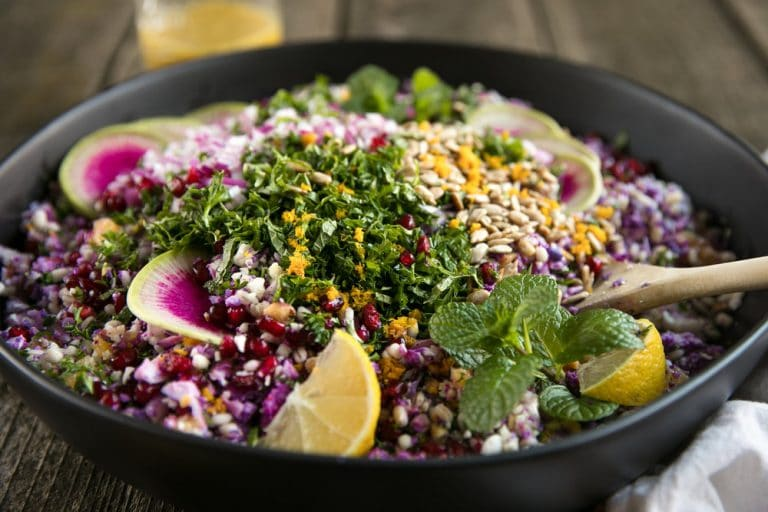 Easy Purple Cauliflower, Barley, Feta, and Mint Salad with Zesty Orange Vinaigrette