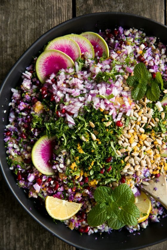 Purple Cauliflower and Barley Salad with Orange Vinaigrette